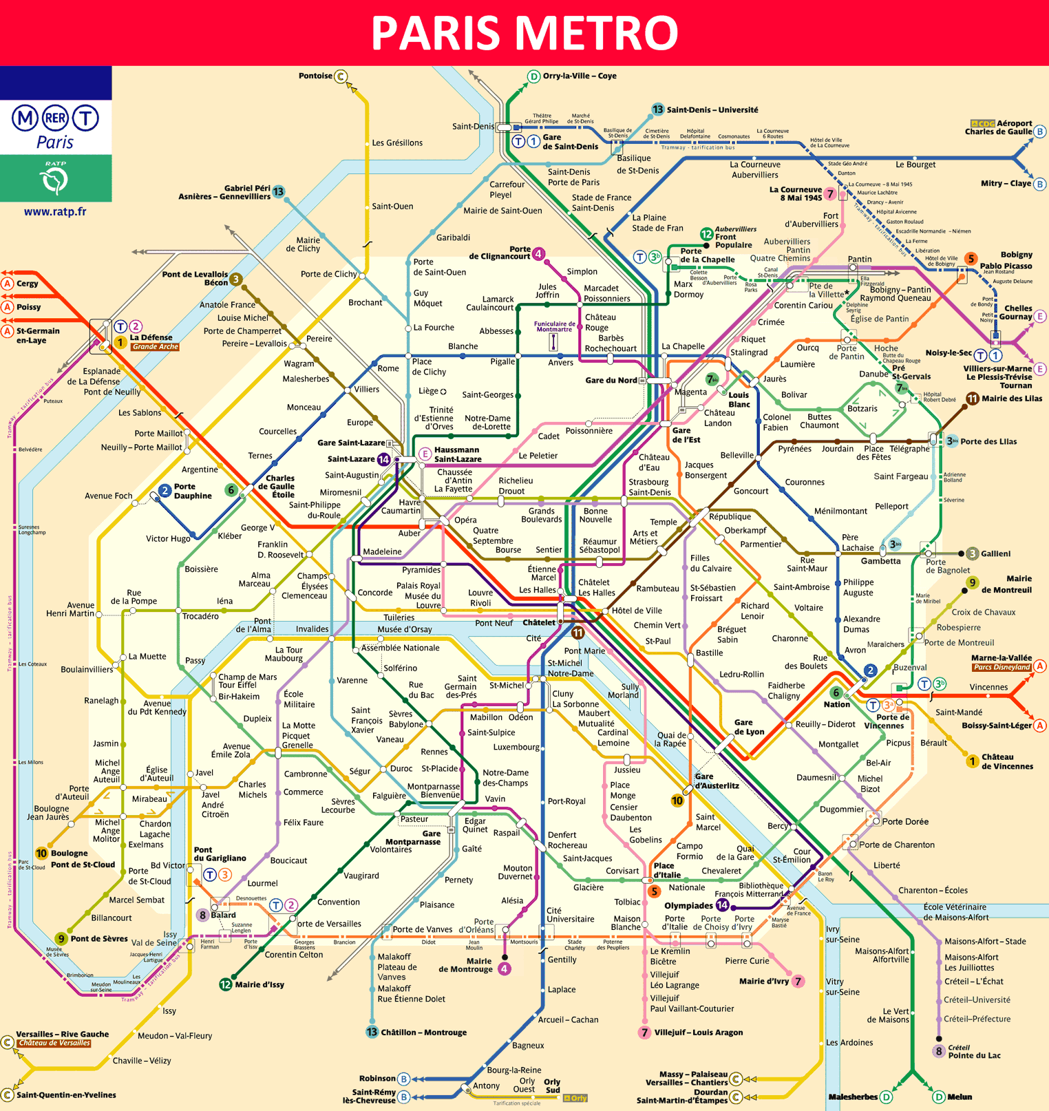 Paris Metro - Maps, Timetables, Tourist Information