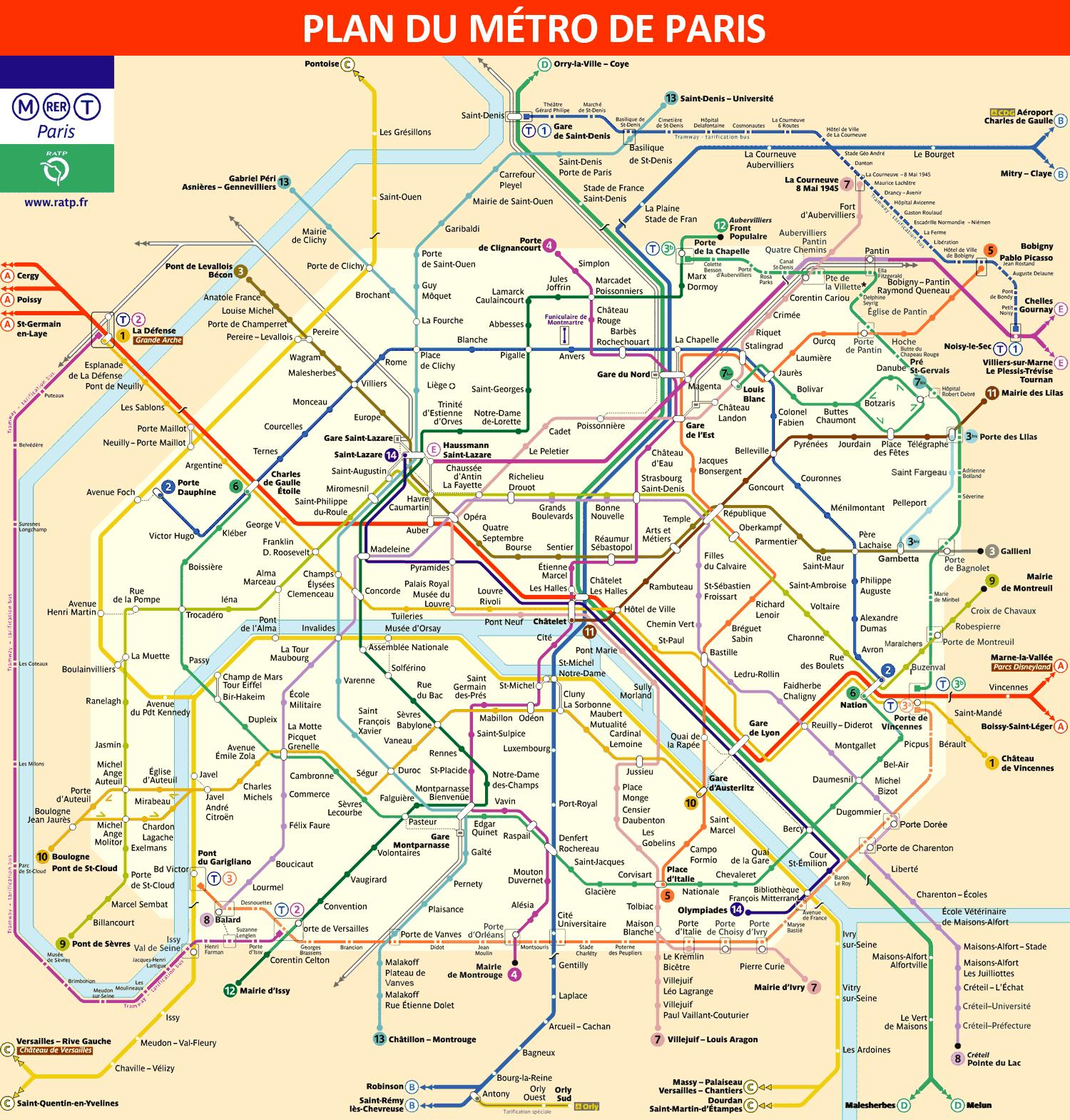 plan du métro de Paris